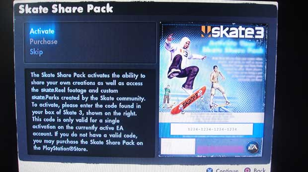 Skate 3 Share Features Require Activation Code