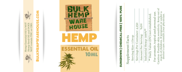Hemp Essential Oil 10ml Label Bulk Hemp Warehouse