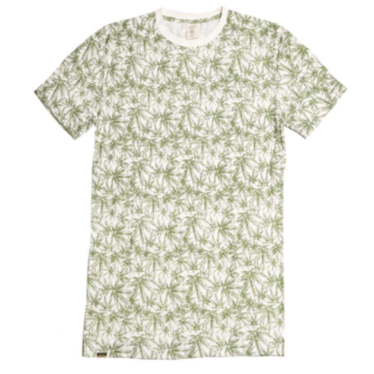 Hemp T-shirt Print Natural with Green