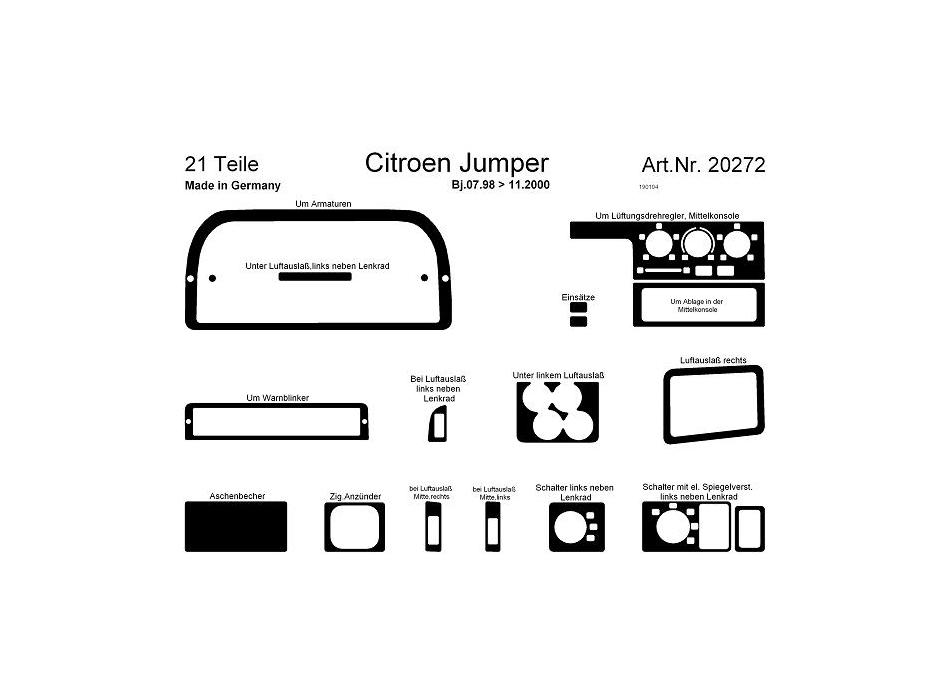 Citroen Jumper/Relay Mk2 Dash Trim Kit 3M 3D 32-Parts