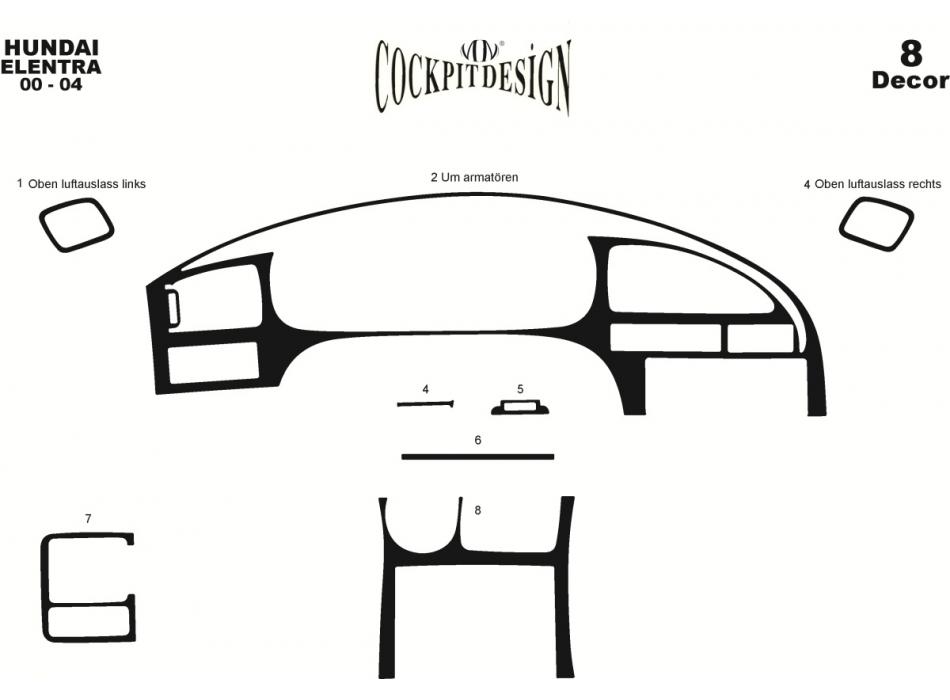 Hyundai Elantra Mk3 XD/XD2 Dash Trim Kit 3M 3D 8-Parts