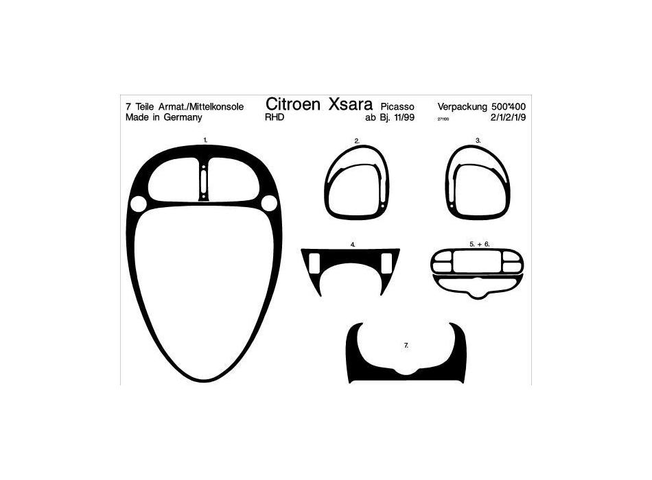 RHD Citroen Xsara Picasso Dash Trim Kit 3M 3D 8-Parts