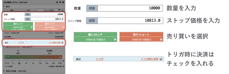 BitMEXのストップ成り行きの注文方法