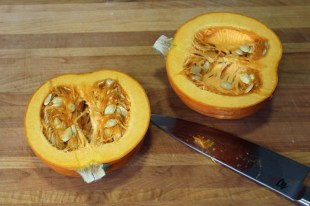 Cut in half and remove seeds