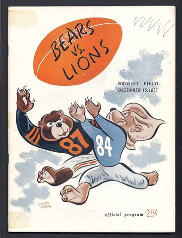 1957 vintage chicago bears vs detroit