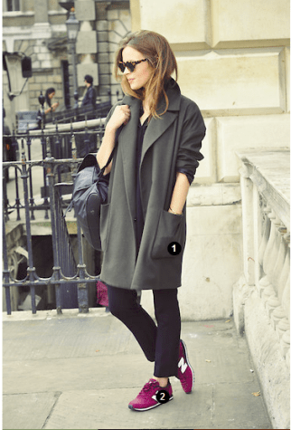 http://lookbook.nu/look/4019310-parisienne : Topshop-Coat-New-Balance-Sneakers-Lfw-Outfit-1