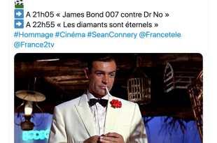 Capture d'écran twitter France 2 hommage Sean Connery