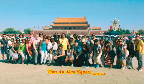 Photo of the Literary Sisters at Tiananmen Square