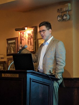 Travis McDade speaking at February 2019 CALL Business Meeting