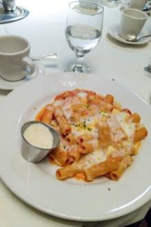 Baked Rigatoni with ricotta, mozzarella, housemade marinara at Petterino's
