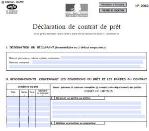 d claration de contrat de pr t n 2062 r daction et