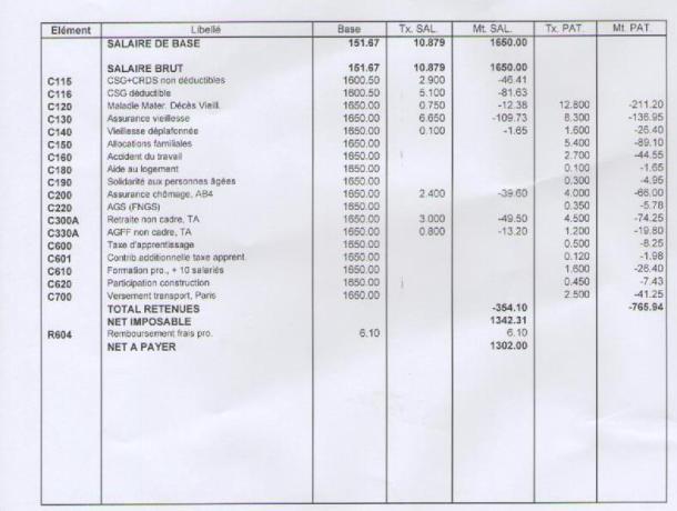 fiche de salaire 2018