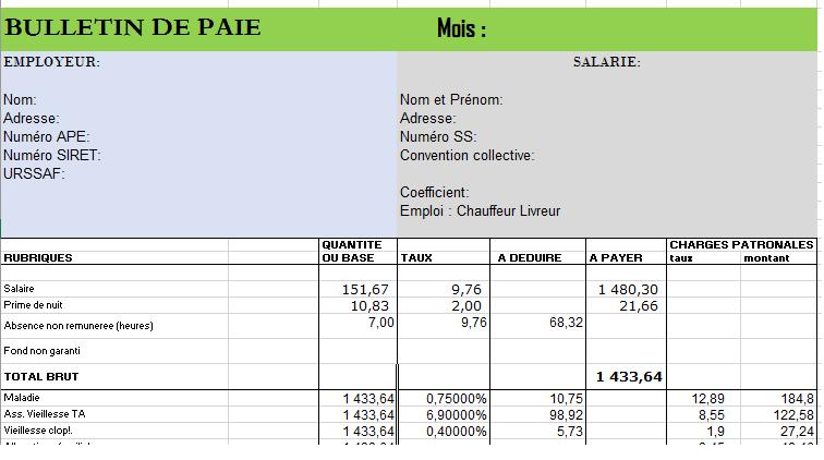 Telecharger Modele De Fiche De Paie Excel Gratuit 2017 Bulletins