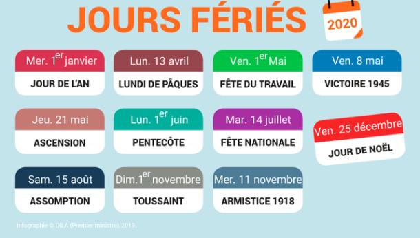 JOURS FERIES 2020 FRANCE