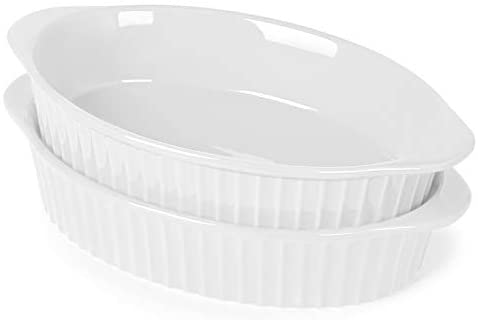 LEETOYI Porcelain Small Oval Au Gratin Pans,Set of 2 Baking Dish Set for 1 or 2 person servings, Bakeware with Double Handle for Kitchen and Home,(White)