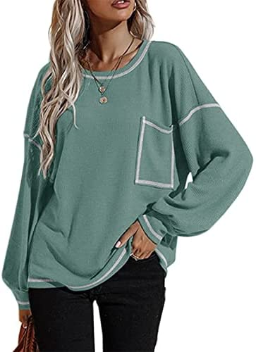 Dellytop Women's Oversized Long Sleeve Tshirts Crewneck Batwing Loose Tunic Tops with Pocket