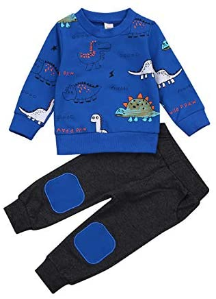 Infant Toddler Baby Boy Hoodie Yellow Pullover Long Sleeve Pants Suit Dinosaur Printing Clothes 2Pcs Set