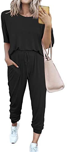 PRETTYGARDEN Women's Two Piece Outfit Short Sleeve Pullover With Drawstring Long Pants Tracksuit Jogger Set