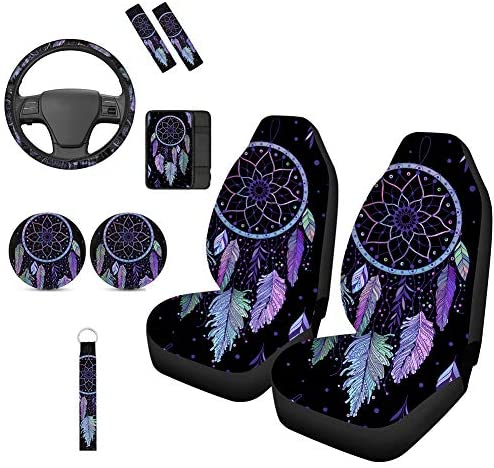 TOADDMOS 9 Pieces Boho Style Colors Feathers Dream Catcher Car Accessories Set,Universal Front Seat Covers with Steering Wheel Cover,Armrest Cover,Seat Belt Pads,Car Cup Holder Coasters,Keychain