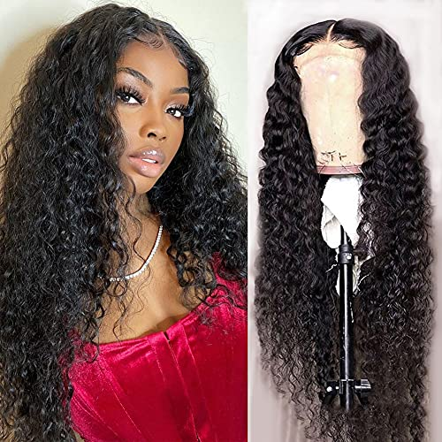 Water Wave 4×4 Lace Front Wigs Human Hair Pre Plucked, 150% Density Brazilian Virgin Wet and Wavy Human Hair Wigs for Black Women Curly Human Hair Wig with Baby Hair Natural Color 24 Inch