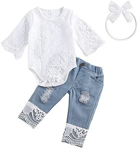 koramesis Baby Girl Clothes Set Toddler Ruffle Sleeve Lace Floral Romper with Denim Jeans Pants Outfits Set