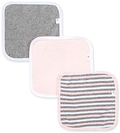 Burt's Bees Baby – Washcloths, Absorbent Knit Terry, Super Soft 100% Organic Cotton (Pink & Grey, 3-Pack)