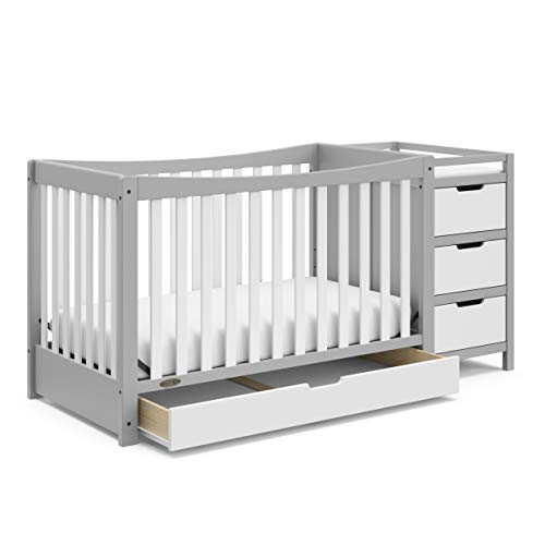 Graco Remi 4-in-1 Convertible Crib with Drawer and Changer (Pebble Gray) – JPMA-Certified Crib with Storage Drawer, Attached Changing Table with 3 Drawers, 2 Shelves, and Water-Resistant Changing Pad