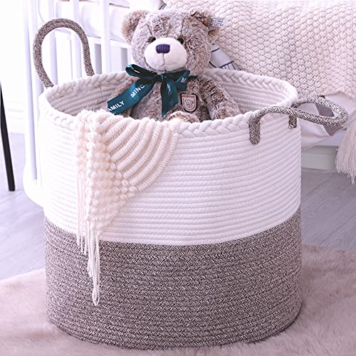KAKAMAY Large Blanket Basket (18″x16″),Woven Baby Laundry Hamper,Cotton Rope Blanket Basket for Nursery, Laundry, Living Room, Pillows, Baby Toy Chest (White/Beige)