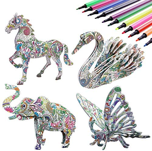 KAZOKU 3D Coloring Puzzle Set,4 Animals Puzzles with 12 Pen Markers, Art Coloring Painting 3D Puzzle for Kids Age 7 8 9 10 11 12. Fun Creative DIY Toys Gift for Girls and Boy (Toy, 4PACK)
