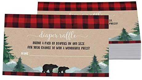 Lumberjack Diaper Raffle Insert Cards (Pack of 25) Boys Baby Shower Games – Invitation Insert for Drawings – Rustic Little Woodsy Bear Designs Red and Black Printed Supplies (2 x 4 Size) Paper Clever Party