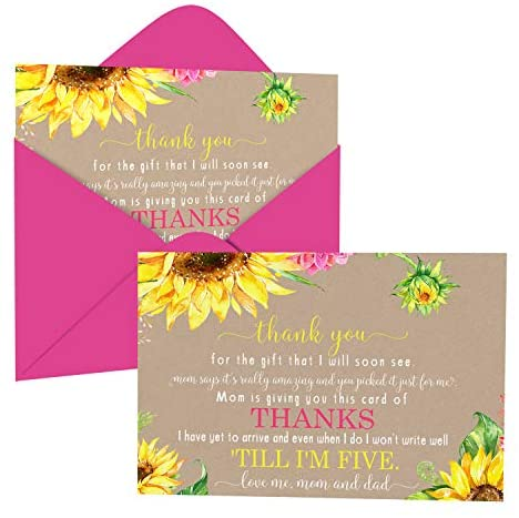 Sunflower Baby Shower Thank You Cards with Envelopes (15 Pack) Rustic, Country Fall Flower Supplies Yellow – Cute Thanks from Baby Girls – A6 Flat Stationery Set Printed (4 X 6 inches)