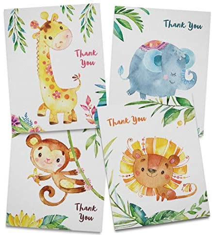 Twigs Paper – Baby Shower Animal Thank You Card Set – 12 Blank Cards (5.5 x 4.25 Inch) with Envelopes – Eco Friendly Stationery – Made In USA From Sustainable Materials