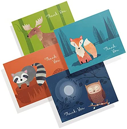 Twigs Paper – Woodland Animal Thank You Greeting Cards with Envelopes, Perfect for Baby Showers and All Occasions, (5.5 x 4.25 Inch), Made in USA, Eco Friendly Stationery