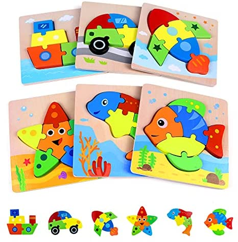 Wooden Puzzle Toys for Toddlers 2 3, Baby Age 2 3 Year Old Educational Toys,Boy and Girl Birthday (6 Pack)