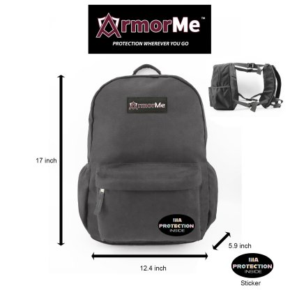 ArmorMe Double Bullet-resistant Panels Backpack grey front side