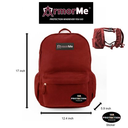 ArmorMe Double Bullet-resistant Panels Backpack red front side