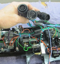 then terminated all the wires going elsewhere into three circular connectors one each for the cables going to the new power module the front of the car  [ 1280 x 960 Pixel ]