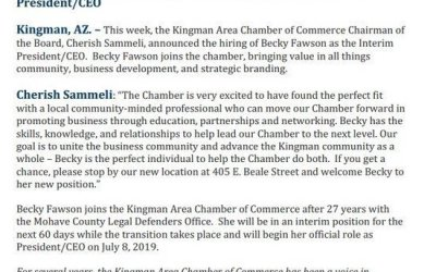 Kingman Chamber of Commerce Announces An Interim President/CEO