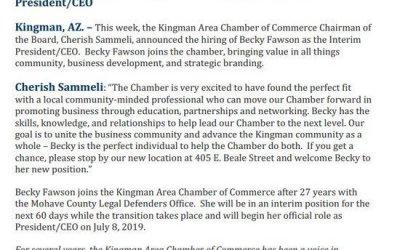 Kingman Chamber of Commerce Announces An Interim President/CEO