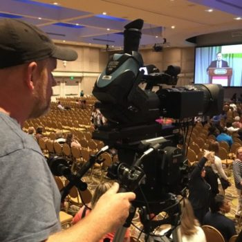 Camera operator Patrick shooting a large conference gathering at Gaylord Opryland Convention Center