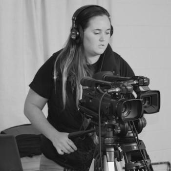 Camera operator Jeana on set for a multicam web show