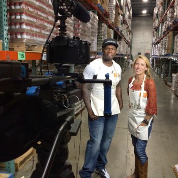 Sheryl Crowe and 50 Cent on set for a PSA shoot for Feeding America