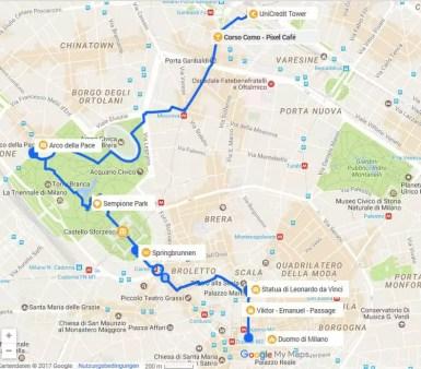 Karte Mailand Sightseeing zu Fuß