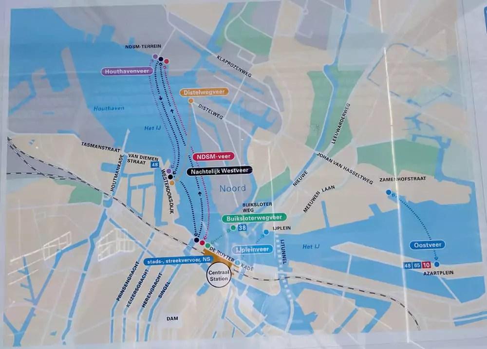 Übersicht Routen kostenlose Fähren Amsterdam