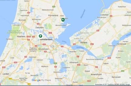 Karte Stellplatz nahe Amsterdam und Park und Ride P+R
