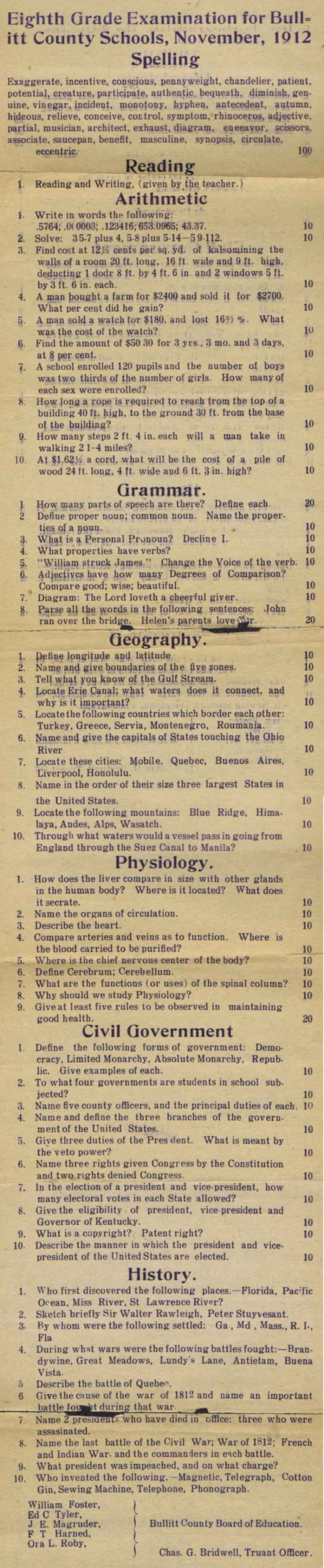 1912 School Exam