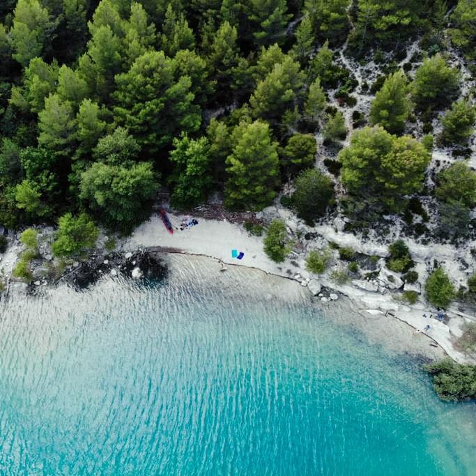Frankreich Lac de Saint Croix von oben