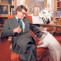 Yves Saint Laurent and French Bulldog Moujik