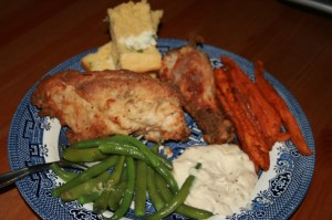 Fried chicken, corn bread, sweet potato fries and garlic green beans