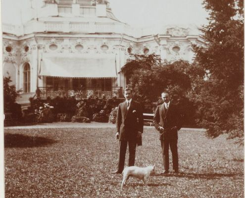 Prince Felix and friend with French Bulldog, 1909
